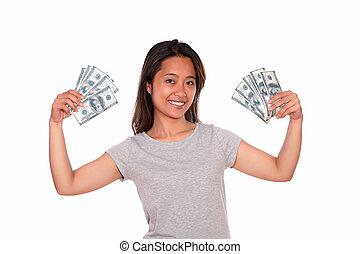 אישה, כסף, פדה, צעיר, אתני, לחייך