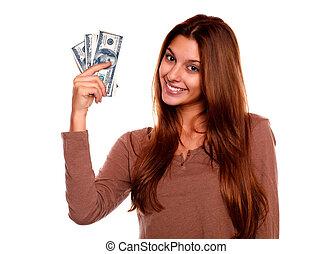 אישה, כסף, פדה, צעיר, לחייך, מקסים