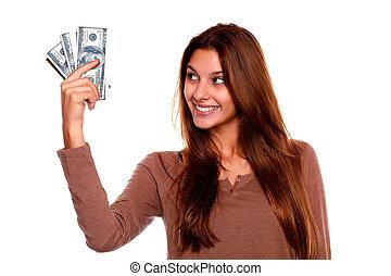 אישה, כסף, צעיר, העבר, להסתכל, זכות, פדה