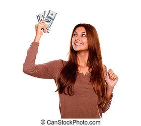 אישה, כסף, צעיר, , להחזיק, פדה, לחייך