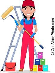 אישה, לצבוע, וקטור, כלים, ציור היתולי, צייר