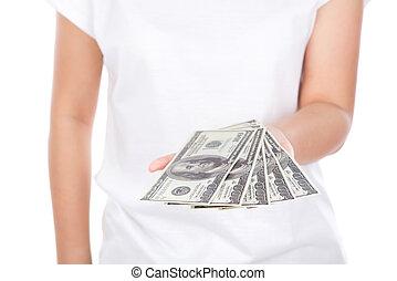 אישה, לתת, דולרים, מלוא יד, הפרד, רקע, לבן