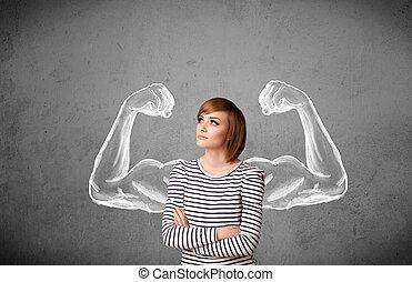 אישה, מאסכלאד, צעיר, חזק, ידיים