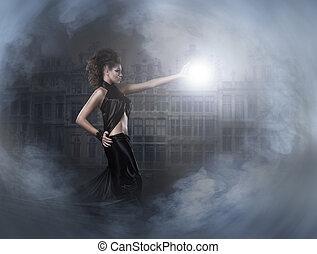 אישה, מעל, ארוך, חושך, רקע שחור, התלבש