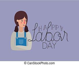 אישה, עמול, מכונאי, יום, כרטיס, שמח