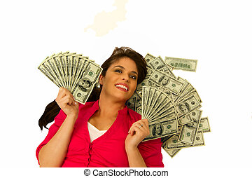 אישה, עצב, מאות, מחזיק, דולר, העבר, מאווררים, כל אחד, חשבונות