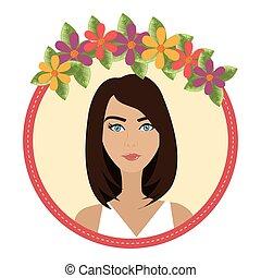 אישה, פרחים, צפה