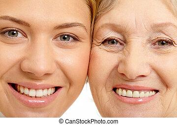 אישה, צילום מקרוב, אמא, שני, פנים, יפה