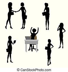 אישה, צלליות, קבע, עסק