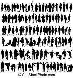 אישה, צללית, אנשים, וקטור, איש שחור