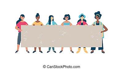 אישה, קבץ, בלתי-דומה, ריק, להחזיק, דגל, ידיד