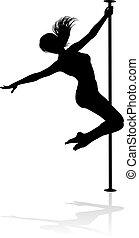 אישה, קוטב, צללית, רקדן