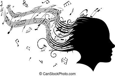 אישה, שיער, הובל דיוקן, מוסיקה, מושג