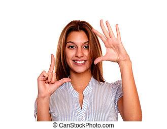 אישה, שלה, הסגר, אצבעות, צעיר, לעשות, מקסים