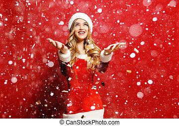 אישה, שלה, התלבש, צעיר, השלג, סנטה, לפול, שמח