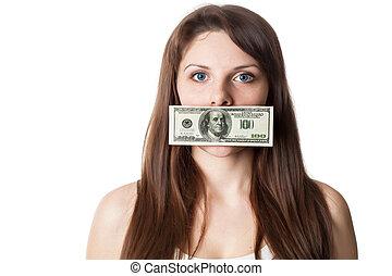 אישה, שלה, חשבן, דולר, צעיר, שפתיים, 100