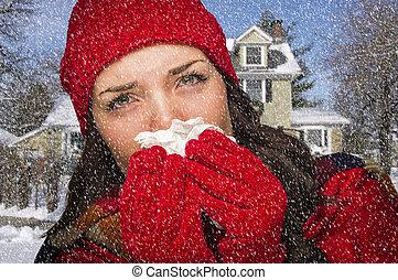 אישה, שלה, ריקמה, השלג, פצע, לנשוף אף, חולה