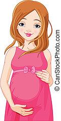 אישה, שמח, התכונן, *b*, בהריון