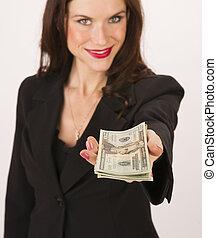 אישה, תשלום, עשרים, ידיים, חשבונות, פדה, עסק, דולר, אתה
