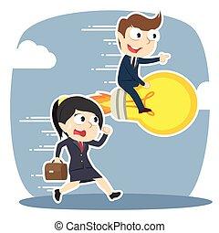 אישת עסקים, איש עסקים, לרוץ, נגד, נורת חשמל