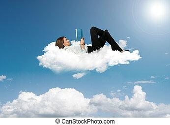 אישת עסקים, הזמן, לקרוא, ענן