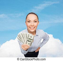 אישת עסקים, לחייך, דולר, פדה, כסף