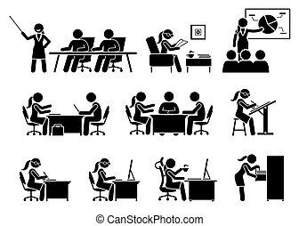 אישת עסקים, לעבוד, משרד.