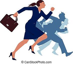 אישת עסקים, לרוץ, פיקחות, להתחרות