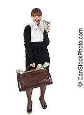 אישת עסקים, מלא, שקית, צעיר, פדה