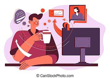 איש, חדשות, מחשב נייד, או, טלויזיה מסתכלת, לשדר