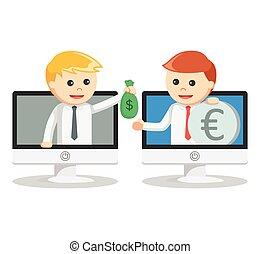 איש, כסף מחליף, עסק, אונליין