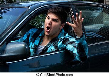 איש, לבטא, זעם בכבישים