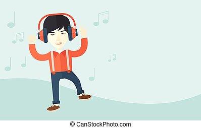 איש, לרקוד, צעיר, בזמן, להקשיב, music., שמח