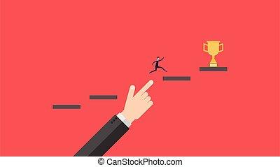 איש, מדרגות, לטפס, הצלחה, עסק, concrpt, גידול, .businessman, לתמוך