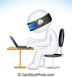 איש, מחשב נייד, וקטור, לעבוד, 3d