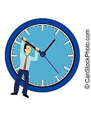 איש עסקים, או, clock., urgency., מושג, ניהול, לתלות, זמן