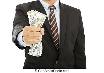איש עסקים, דולרים, מלוא יד, להחזיק, אותנו