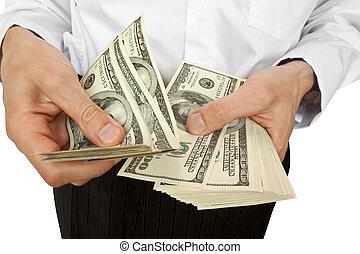 איש עסקים, הסבר, כסף, ידיים