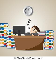 איש עסקים, זמן, ציור היתולי, לעבוד, לישון