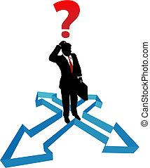 איש עסקים, כיוון, חיצים, אי החלטה, שאל