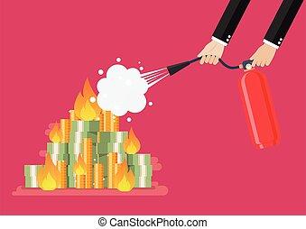 איש עסקים, כסף, אש נלחמת, להשרף, מטף