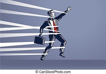 איש עסקים, לכוד, צוארון כחול, מושג, זוז, דוגמה, באופן חופשי, לא מסוגל