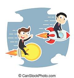 איש עסקים, לרוץ, רעיון, טוס