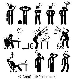 איש עסקים, מדגיש, משרד, לחץ