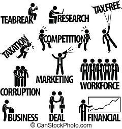איש עסקים, מושג, עסק, טקסט