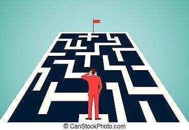 איש עסקים, מכשולים, goal., לחסום, בכיוון, leadership., idea., לעמוד, ללכת, וקטור, הצלחה, דוגמה, חורים, path., ציור היתולי, כוון, להסתכל, יצירתי, מבוך, עסק