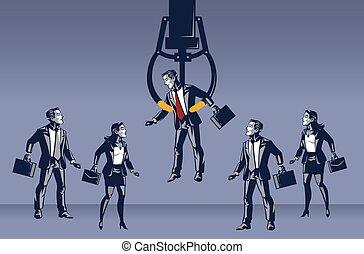 איש עסקים, מנוף, דג כחול, צוארון, מושג, דוגמה, תגמר, בחר