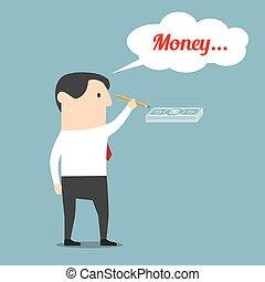 איש עסקים, על, לחלום, כסף