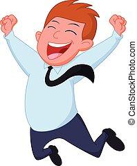 איש עסקים, ציור היתולי, שמח