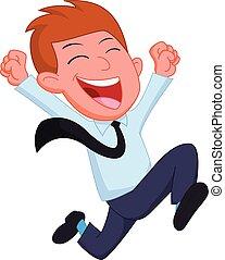 איש עסקים רץ, ציור היתולי, שמח